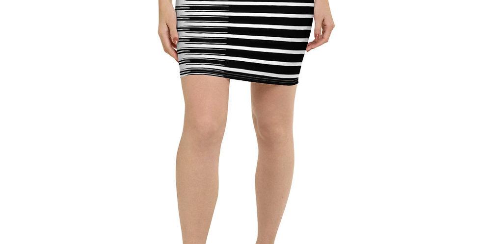 Falda de tubo rayas negra/blanca