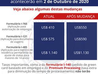 Mudanças nas taxas de imigração a partir de 2 de Outubro de 2020