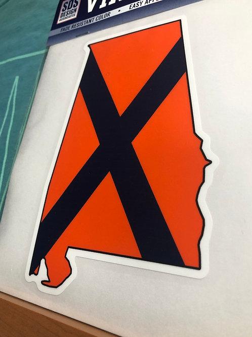 "6"" Blue & Orange Alabama Decal"