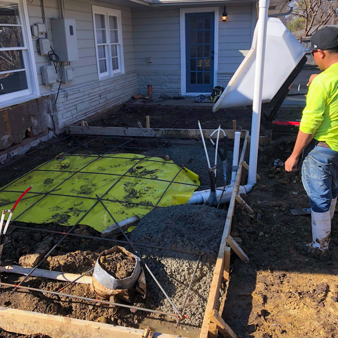 Pouring a new foundation for bathroom addition in Broken Arrow, OK