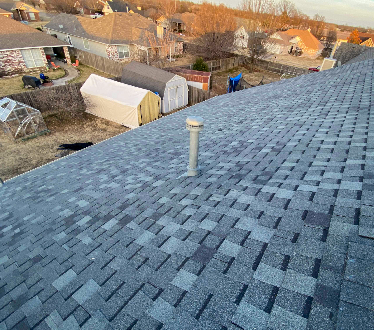 Beautiful shingle work completed by In His Name Roofing and Construction