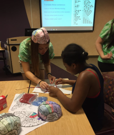 Making brain hats at the Pacer Center