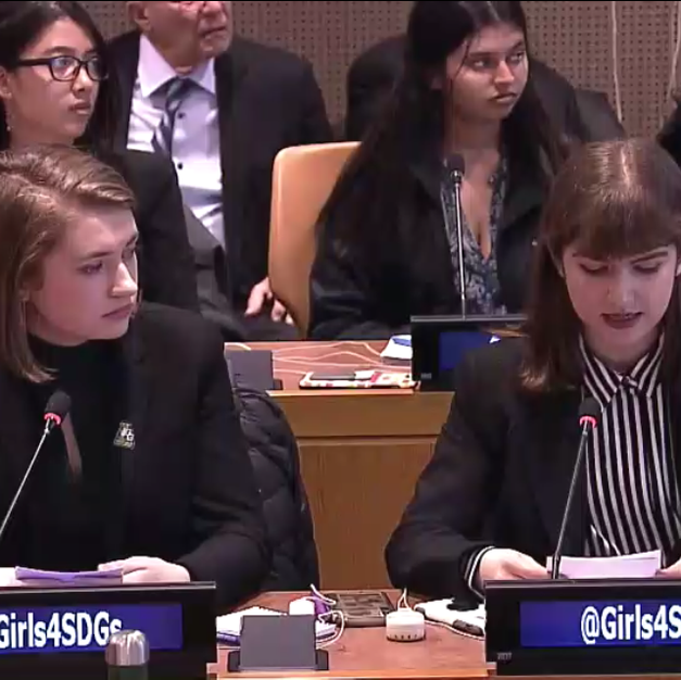 Claire and Rebecca presenting at the United Nations