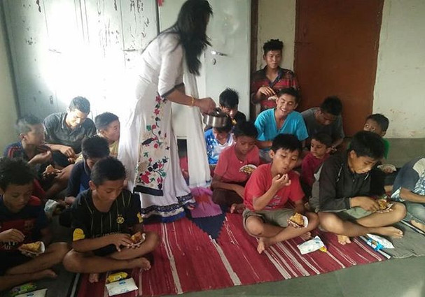 Food distribution in Children home by ou