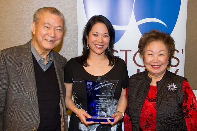 Christine Toy Johnson pictured with her parens after receiving th Roseetta LeNoire Award from Actors' Equity Association