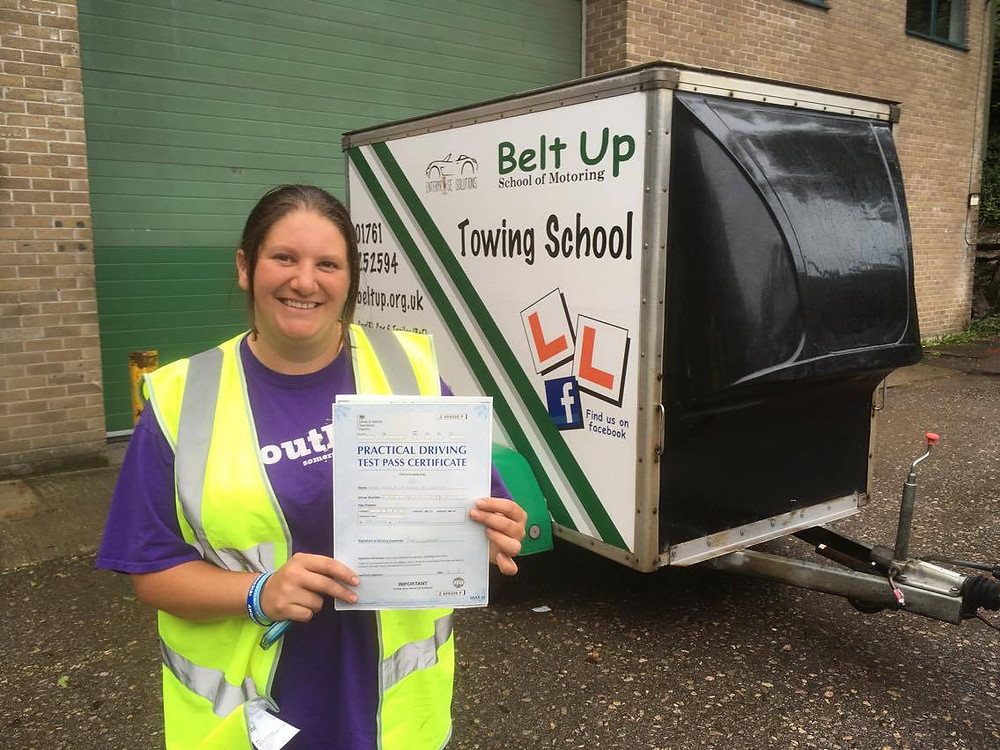 Karla March FIRST TIME car and trailer test pass with Belt Up School of Motoring