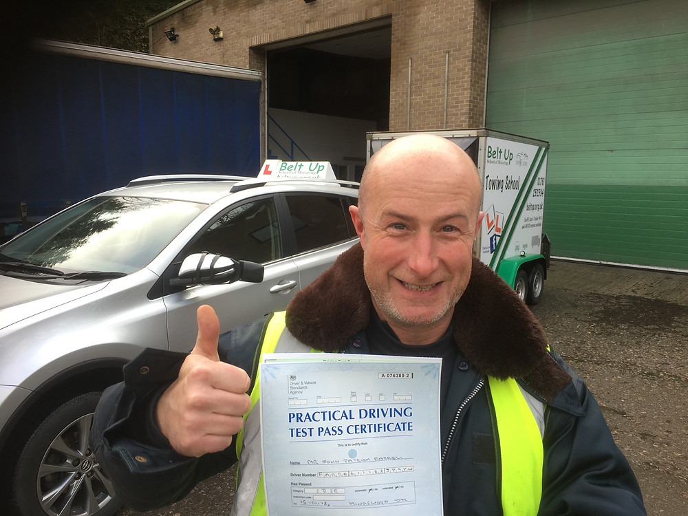 John Farrell Car and trailer test pass with Belt Up School of motoring Ltd