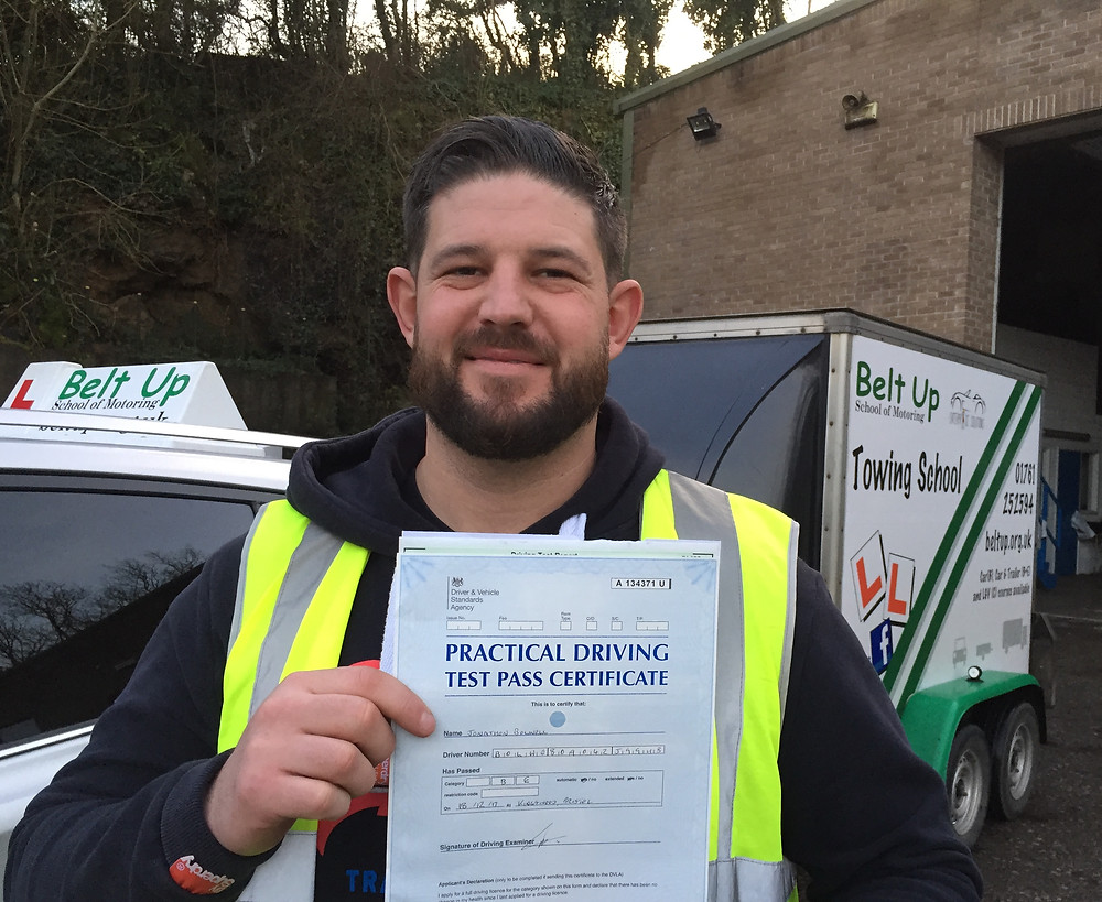John passes car and trailer test with Belt Up School of Motoring Ltd