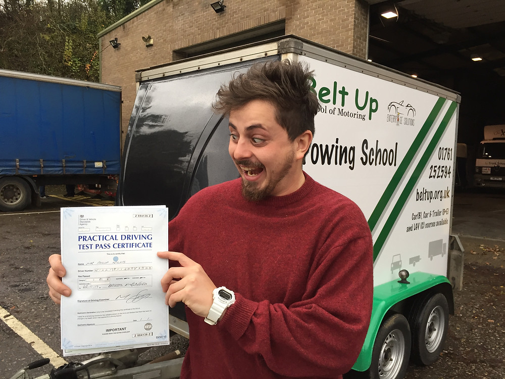 Phillip Willis Looking very happy at passing his B+E trailer test. With belt up school of motoring.