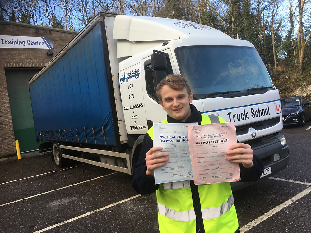 Driving test and Mod 4 test pass for Simon with Truck School