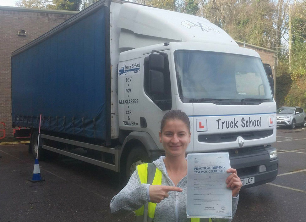 Bob with her class 2 test pass with Truck School