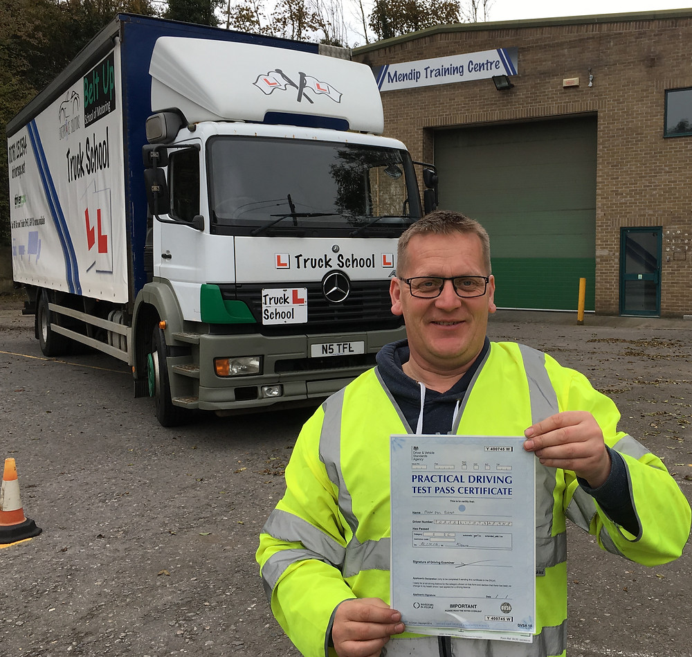 Mark, proud as punch with his HGV test pass from Truck School