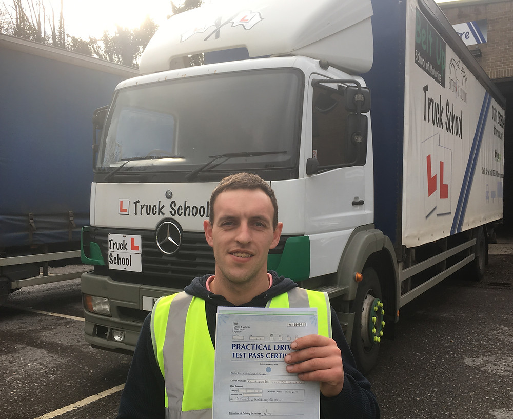 Liam King passed class 2 with Truck School