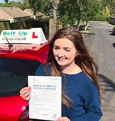 Well done to Caitlin for passing your driving test with Belt Up School of Motoring