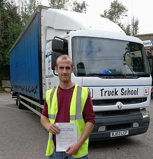 Michael Byrne FIRST TIME test pass with Truck School