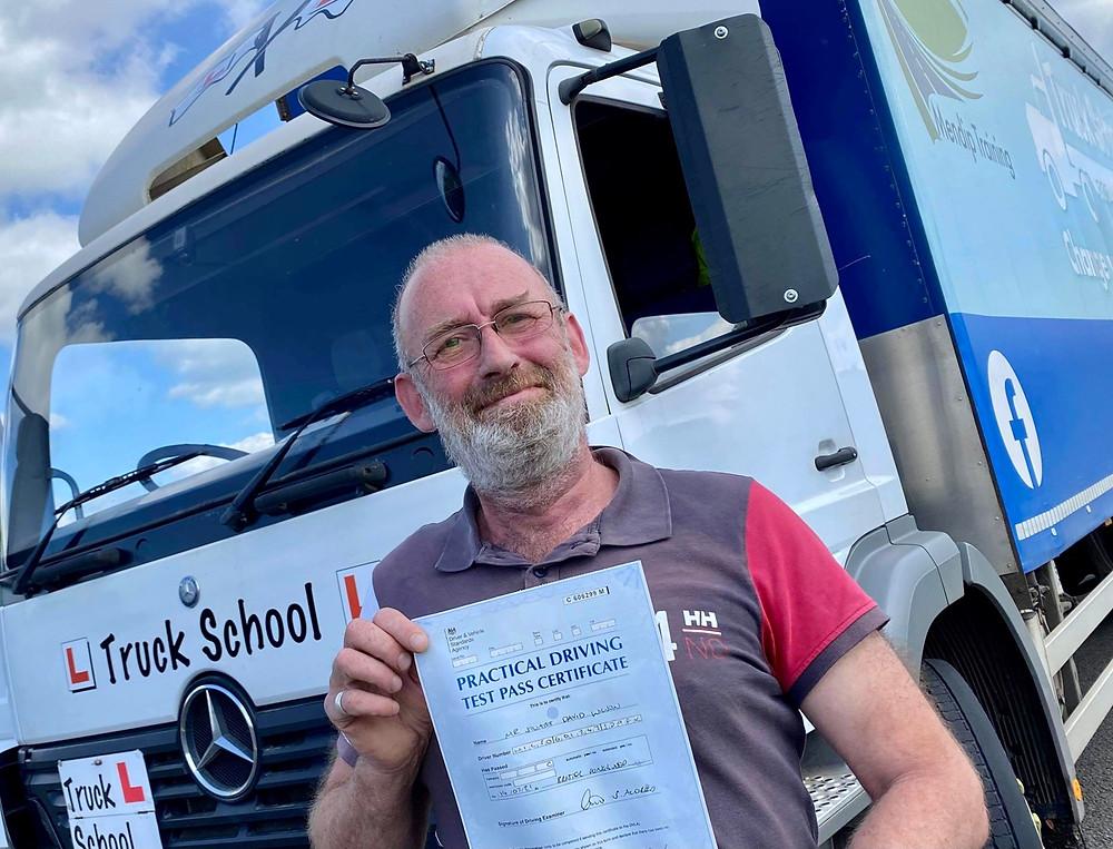 Stuart Wilson passes Class 2 with Truck School