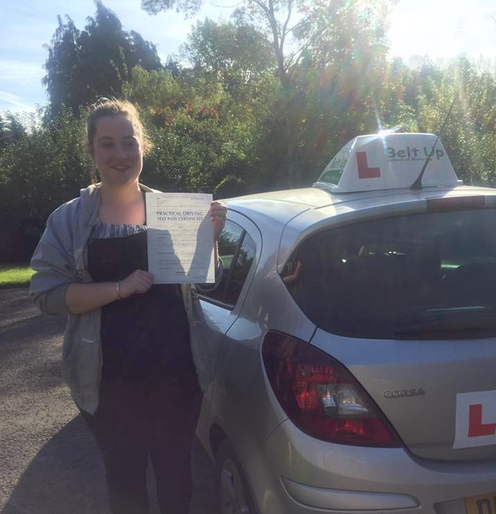 Hannah Regan passes driving test first time with Belt up School of motoring