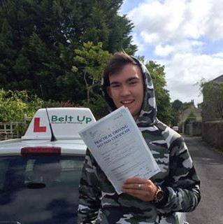 Car driving test pass with Belt Up School of Motoring