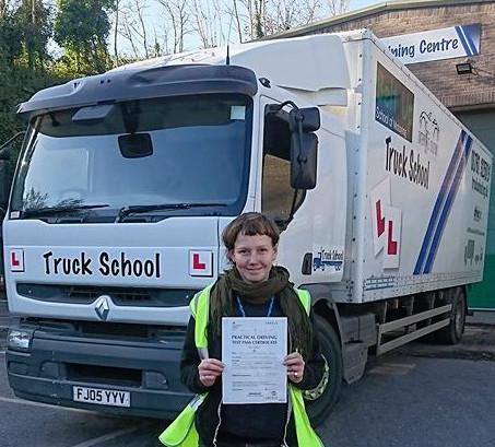Seonaid Davis passed her class 2 test with Truck School