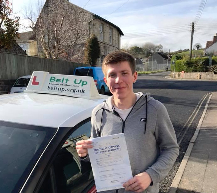 George Stas looking happy with his test pass certificate