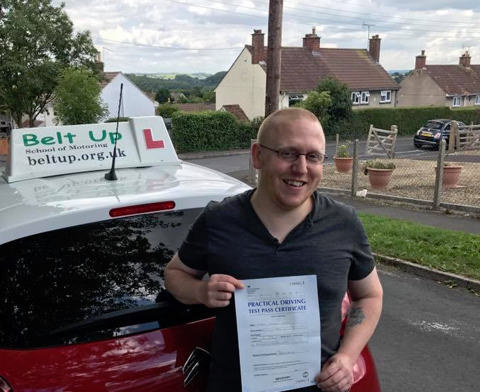 Joe Nash passed his car test today with Belt Up School of Motoring