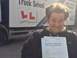Hannah passed her class 2 HGV driving test