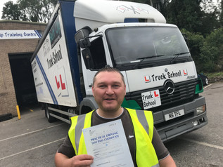 Lee Rayner very deservedly gains his class 2 Licence with Truck School