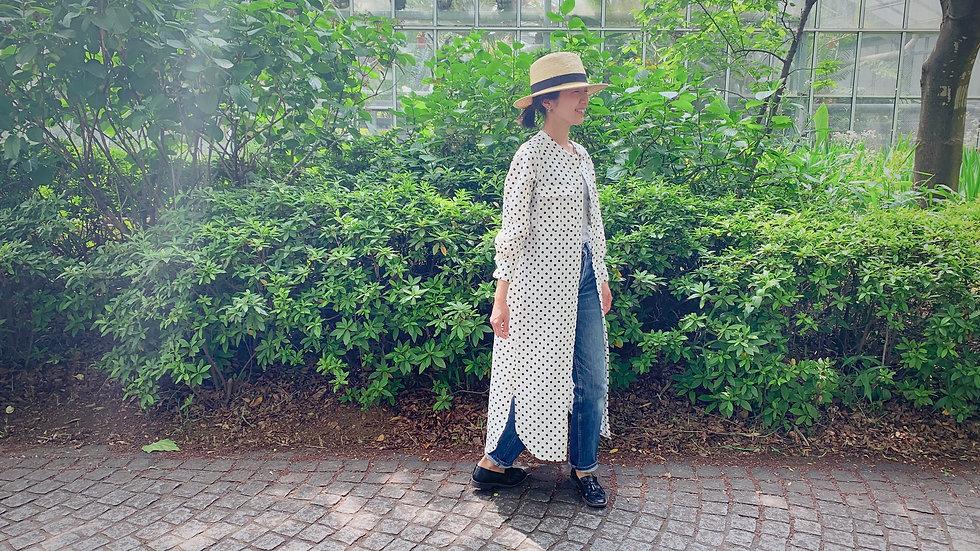polka dot long linen shirt