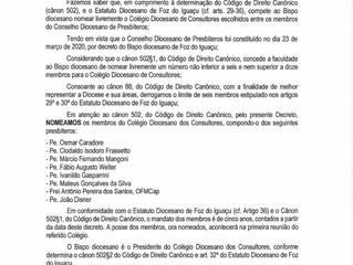 Decretos Diocesanos referente ao Colégio de Consultores, Conselho dos Presbíteros e Conselho de Form