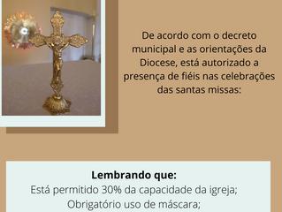 Autorizada a participação de fiéis nas celebrações das missas