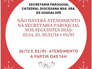 Horário de atendimento na Secretaria Paroquial da Catedral