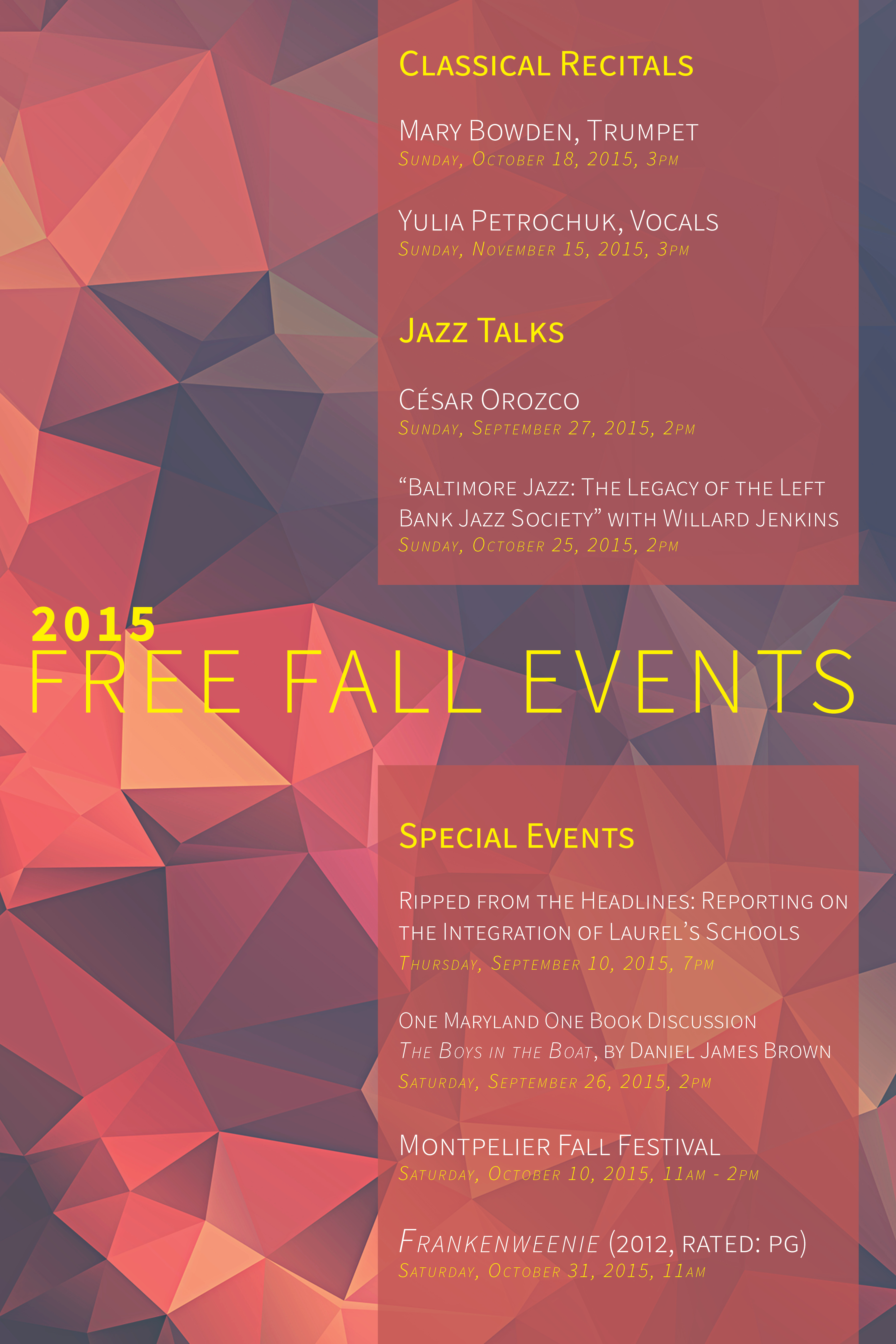 Fall Events Poster 2015