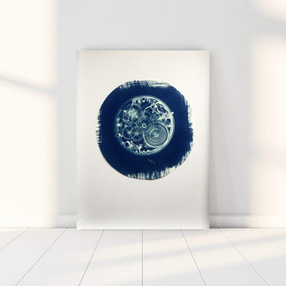 Blue Clock. Cianotipia. Cyanotype.