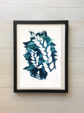 Cianotipia. Cyanotype. Hojas y ramas. Leaves and branches