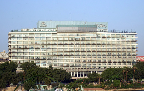 Photograph of the Nile Hilton Hotel.