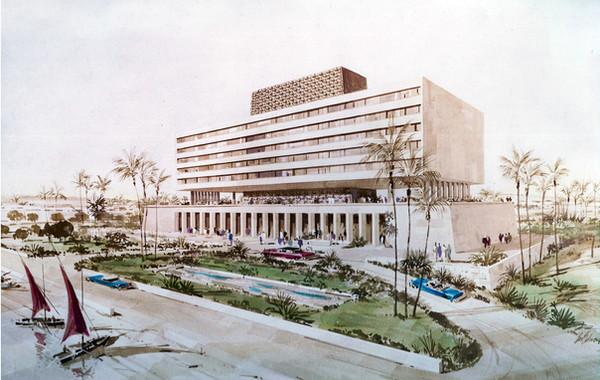 Luxor Hilton Watercolor Rendering