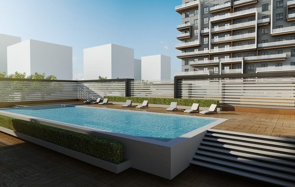 Marina Twin Towers Facade Option 01 Pool Deck View