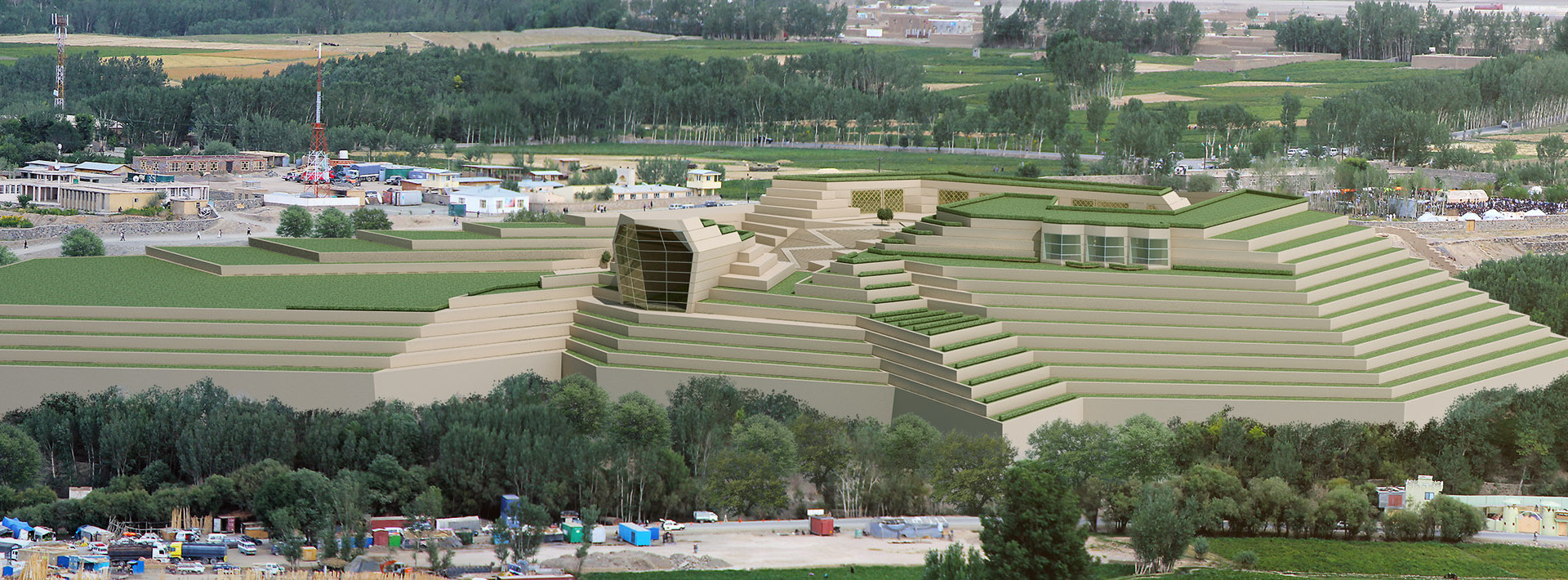 Bamiyan Cultural Center Aerial Perspective
