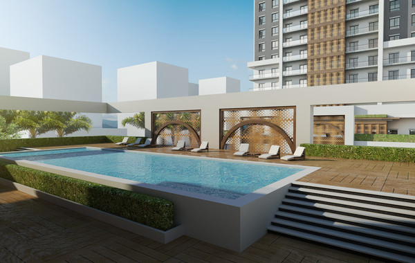 Marina Twin Towers Facade Option 02 Pool DeckView