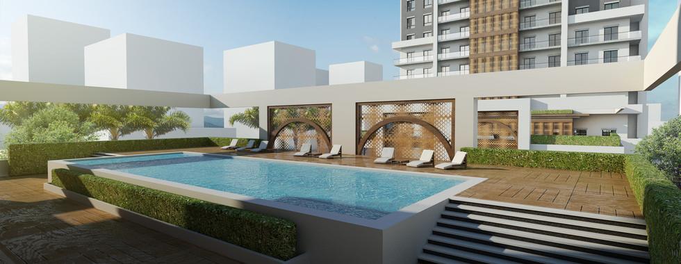 Marina Twin Towers Facade Option 02 Pool DeckView