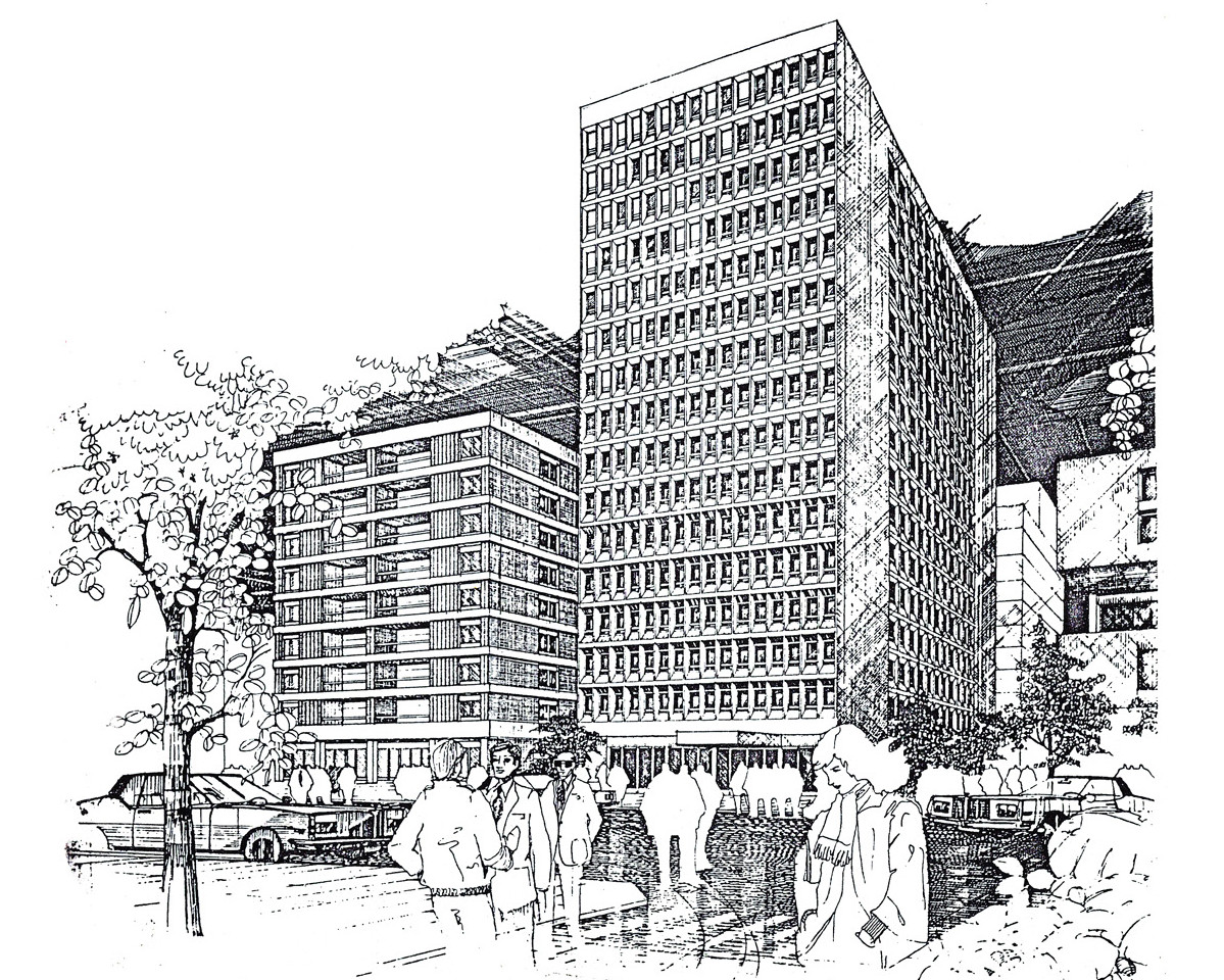Hedico Main Office Building Pen & Ink Rendering