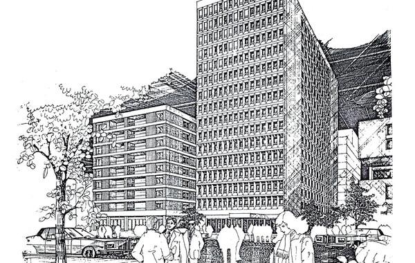 Hedico Main Office Building Pen & Ink Rendering