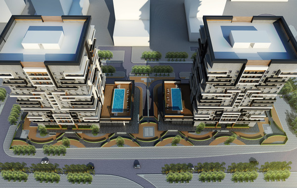 Marina Twin Towers Facade Option 01 Aerial View