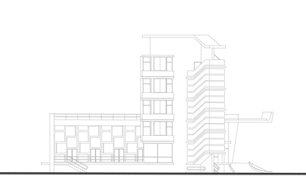 Side Facade Drawing - Image courtesy of RiadArchitecture.