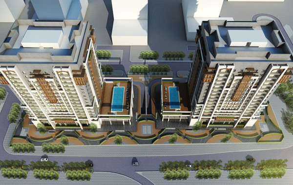 Marina Twin Towers Facade Option 02 Aerial View