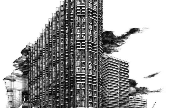 Hedico Maadi 200 Skyscraper Pen & Ink Rendering
