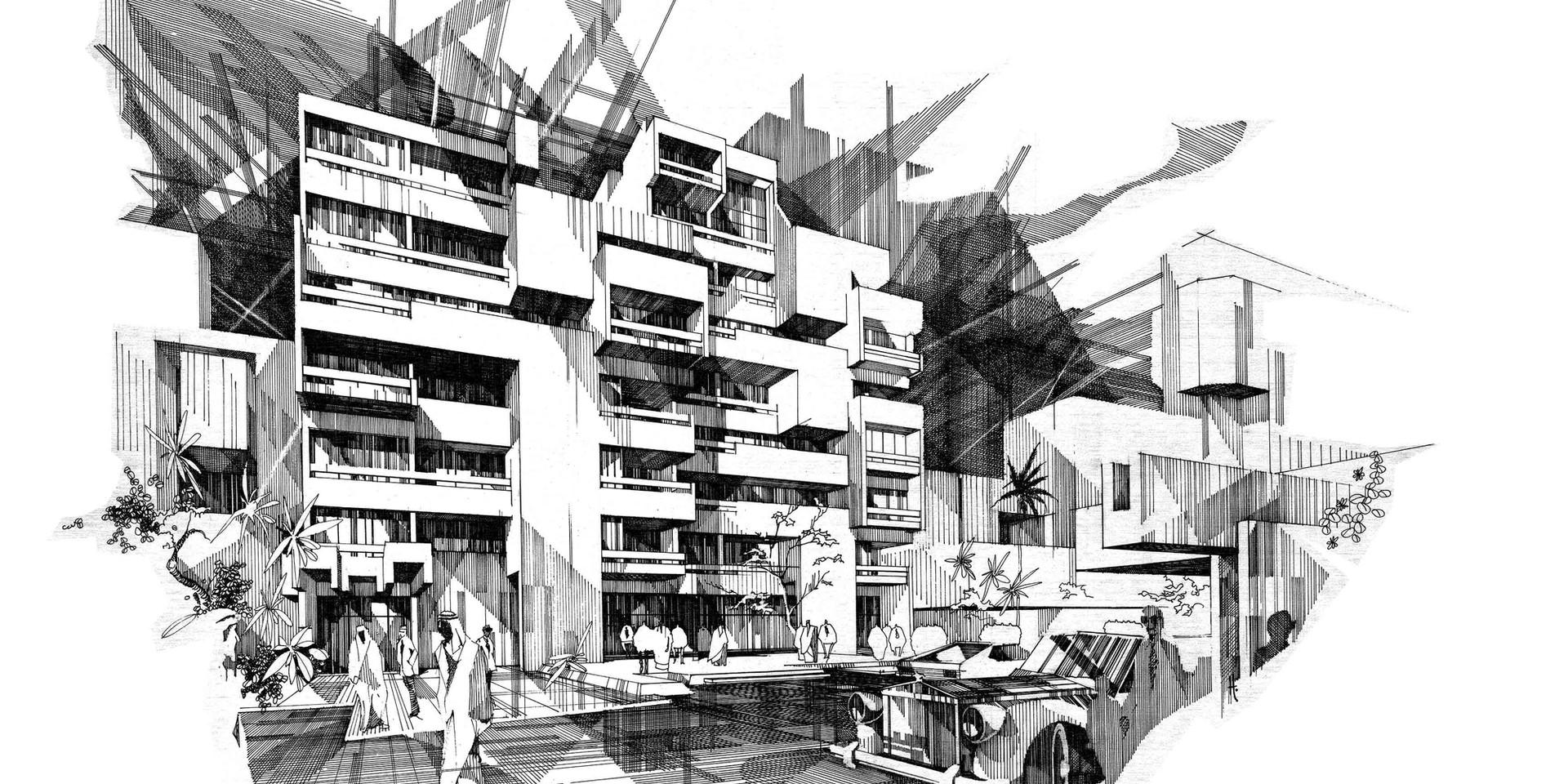 Lady Amira el Moteri Building Pen & Ink Perspective