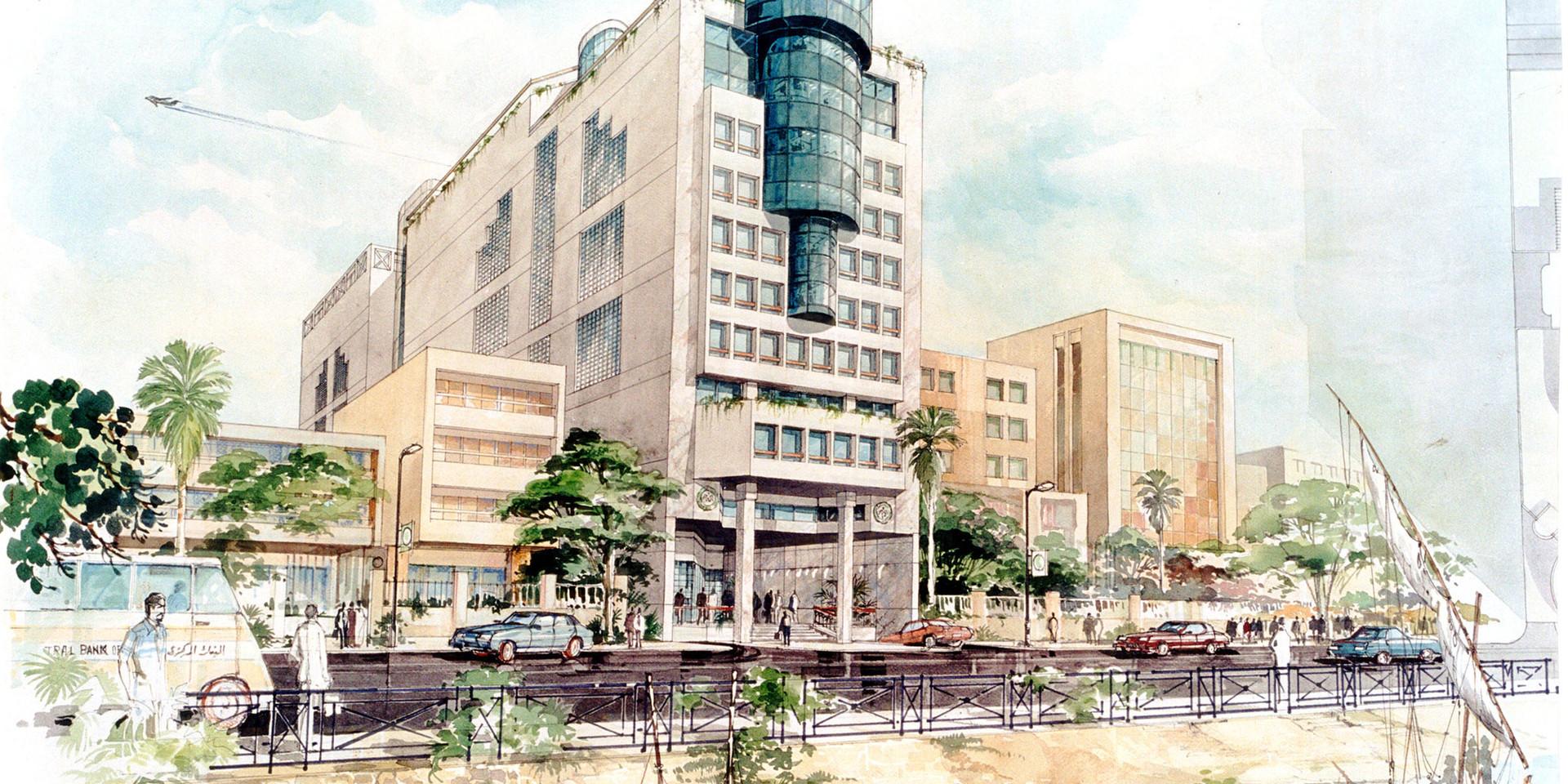 Central Bank of Egypt Rowd el Farag Office Building Watercolor Rendering