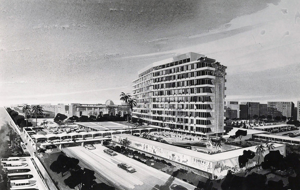 Schematic Design Rendering of the Nile Hilton Hotel - Image courtesy of Welton Becket.