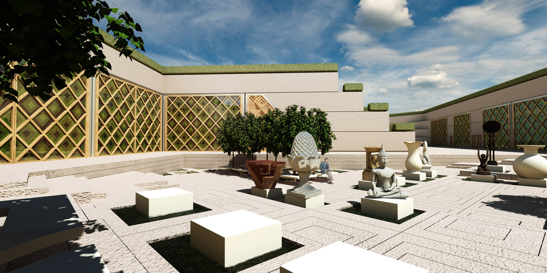 Bamiyan Cultural Center Courtyard Perspective